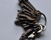 Vintage Key Ring, 16 Skeleton Keys, Sixteen Old Steel keys, Craft Supplies, Collectable, Victorian