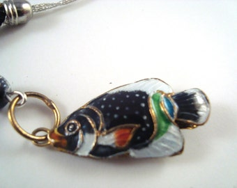 Black Fish Cloisonne Cellphone Charm CH017 Cell Phone Charm