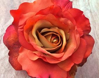 Orange Flower hair clip Rose
