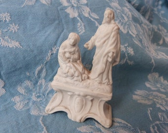 Antique French religious statue Jesus Christ w Madonna bisque devotional Jesus w Holy Mary statue sculpture saint 1800s christianity, France