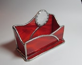 Stained Glass Business Card Vessel in Red Swirled Opalescent Glass and Crystal Faceted Jewel