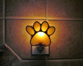"Stained Glass Puppy Paws Night Light in Light Amber and Ivory Swirl Opalescent Glass - 4"" x 3.25"" - Customizable with Personalized Name Tag"