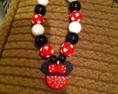 Bubblegum red and black Minnie necklace