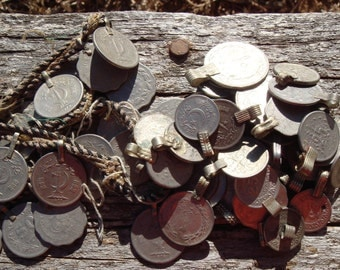 20 Vintage Looped Belly Dance Real Genuine Assorted Coins From Lg/Med On Down Shapes/Sizes
