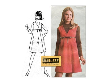 1960s A Line Dress Pattern Empire Waist Surplice Top Sleeveless McCall's N1003 New York Designers Collection Bust 36 Vintage Sewing Pattern