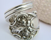 Wrapped Silver Spoon Ring  - Charter Oak 1906 Silverware Jewelry Fall Ring