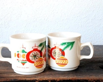 Vintage Christmas Mug Cups, Retro Ornaments Made in Ireland, 1970s Lillian Vernon Set of Two (2)