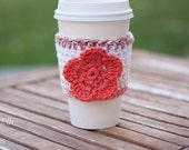 Crochet Coffee Cup Cozy - Earth Tone Stripes with Coral Flower