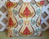 Ikat Pillow Cover in Red-Orange, Gold, Teal Blue, and Brown