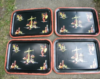 4 nice matching clean vintage 1950s mid century DRUGSTORE MEDICINE APOTHECARY scale tin tv serving trays