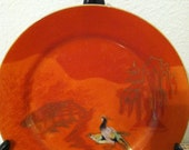 CPO Pheasant with Gold Landscape on Red Luncheon Plate