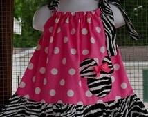 New Handmade ruffle minnie mouse  polka polka dot pink zebra pink ribbon pillowcase dress size 3mos up to 6y