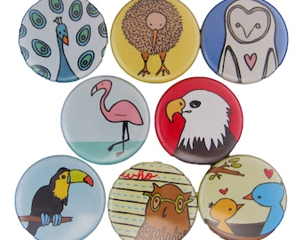 Little Birdies - Pick your 4 Pinback Buttons - Bird Pins - Flamingo, Bald Eagle, Kiwi, Toucan, Owl, Penguin, Peacock, Chicken