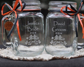Halloween Wedding Gift Mason Jars - Personalized Bride and Groom with Mr and Mrs Charms