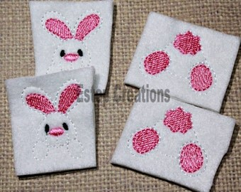 Bunny parts felties, uncut set of 2, Easter bunny face & backside w/ medium pink accents on white felt, for scrapbooking, hair accessories
