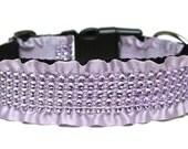 """Lavender Dog Collar 1.5"""" Rhinestone Dog Collar SIZE MEDIUM"""