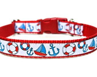 "Nautical Dog Collar 5/8"" or 3/4"" Anchor Dog Collar"