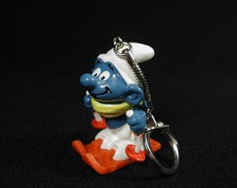 Vintage Skier Smurf Figurine Key Chain