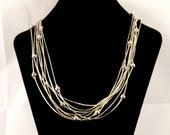 Vintage Necklace Multi Stran Necklace Chain Necklace Silver Tone Necklace Vintage Jewelry Costume Jewelry Free Shipping to USA