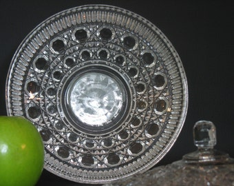 Button and Cane Pressed Glass Candy Dish with Lid by Federal Glass, Windsor