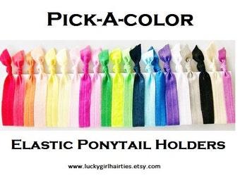 10 Hair Ties, Pick-A-Color Set, Ponytail holder,ヘアタイ, Elastic Hair Bands, Lucky Girl Hair Ties, Hair Ties for Girls
