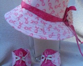 Infants hat and Shoes/ breats cancer awareness / med / OOAK