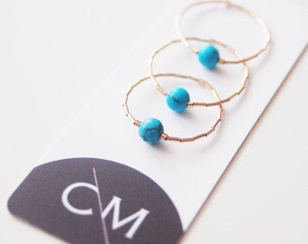 Soft Thin stacking Rings with Turquoise bead - Gold filled 14kt