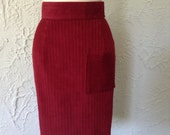 Cranberry Red Corduroy Pencil Skirt with Front Patch Pocket