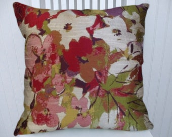 Red, Green, Pink  Woven Pillow Cover-- 18x18 or 20x20 or 22x22  Watercolor Abstract Throw Pillow Cover-- Green, Yellow, Cream