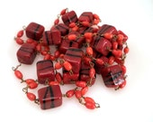 Vintage Venetian Glass Art Glass Bead Necklace on Wire Jewelry Shades of Red Orange Rust