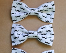 Cute black and white Mustache design hair bows/bow ties, Nerdy cute bow ties, geek chic,clip on bow ties, cute mustache bows, mustache photo