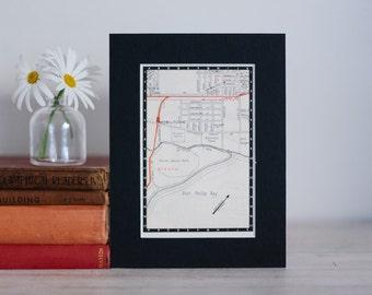 "1950s map of Melbourne suburbs, Australia - Williamstown and Altona, ready to frame, 6 x 8"""
