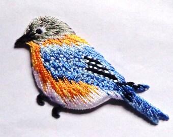 embroidered iron on applique-bird blue