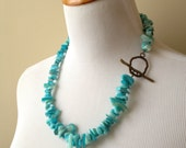 Tropical Turquoise Shell Chunk Necklace - Natural Turquoise Shell Chunk Necklace with Bronze Toggle Closure - Beach Collection