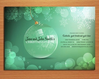 Green Ornament Bokeh /  Christmas Party DIY Customized Printable Party Invitations