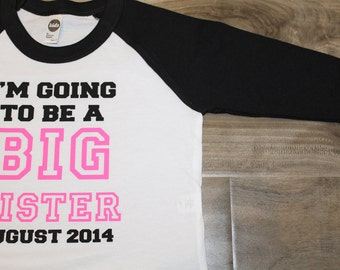 BIG SISTER announcement shirt - Kid's personalized big bro date raglan baseball shirt