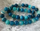 Beautiful Round Blue Striped  Agate Onyx Gemstone Beads  10MM