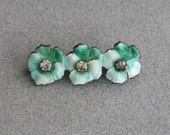 Vintage Enamel & Paste Pansy Pin Brooch in Aqua and Green