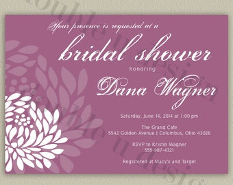 Modern Flower - Printable Bridal Shower Invitation with Color Options