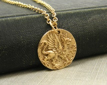 Griffin Necklace, Bronze Greek Mythology Winged Lion Pendant Jewelry, Ancient Coin Charm