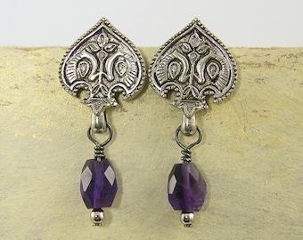 Ornate Earrings, Silver Tribal Earrings, Amethyst Earrings, Ethnic Post Earrings, Silver Purple Earrings  EC3-6