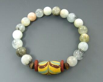 Amazonite Bracelet, Aqua Bead Bracelet, Semiprecious Stone Bracelet, Trade Bead Bracelet, Blue Yellow Bracelet