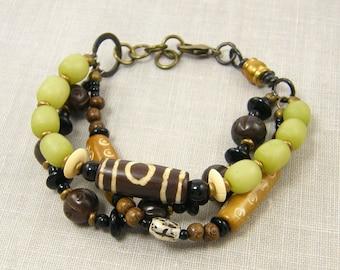 Brown Green Tribal Bracelet, Three Strand Bracelet Bohemian Multistrand Bracelet Earthy Bracelet Natural Beaded Jewelry |BC1-9