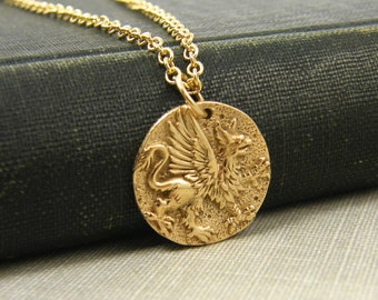 Griffin Necklace, Bronze Greek Mythology Winged Lion Pendant Jewelry, Ancient Coin Charm |NG1-7