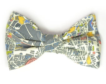 Mens Clip-On Bow Tie Wedding  London map bowtie