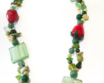 Green Glass Beaded Statement Necklace - Natural Stones and Strawberry Accent Beads - UNIQUE