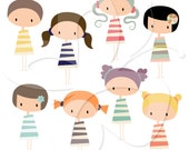 Cute Kawaii Girls Clip Art Clipart Set - Personal and Commercial Use