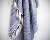 NEW Silk Turkish Towel, Special Pestemal, Fouta, Bath Towel, Beach Towel, Blue  / Autumn Collection