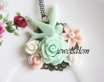 Shabby Chic Necklace Mint Green Pink Wedding Bridesmaid Necklace Bird Flower Floral Necklace Woodland Bridal Jewelry Customizable Gift SB