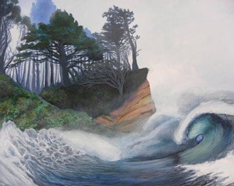 """Surf art/ Wave Painting/ Stormy Seas Acrylic Painting/ Giclee Print On Canvas  11"""" x 14"""""""